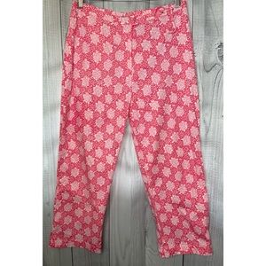 TIBI Colorful Pants Pink & White Floral Bright